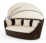 Садовый диван из искусственного ротанга Portofino Modern c навесом коричневый, фото 1
