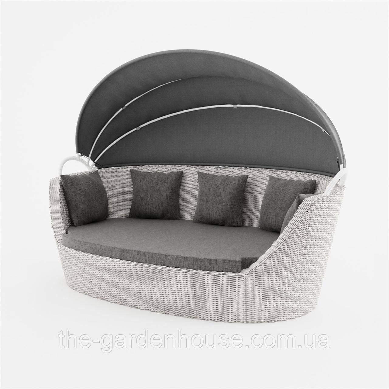 Садовый диван из искусственного ротанга Portofino Royal c навесом белый