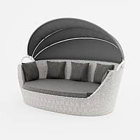 Садовый диван из искусственного ротанга Portofino Royal c навесом белый, фото 1