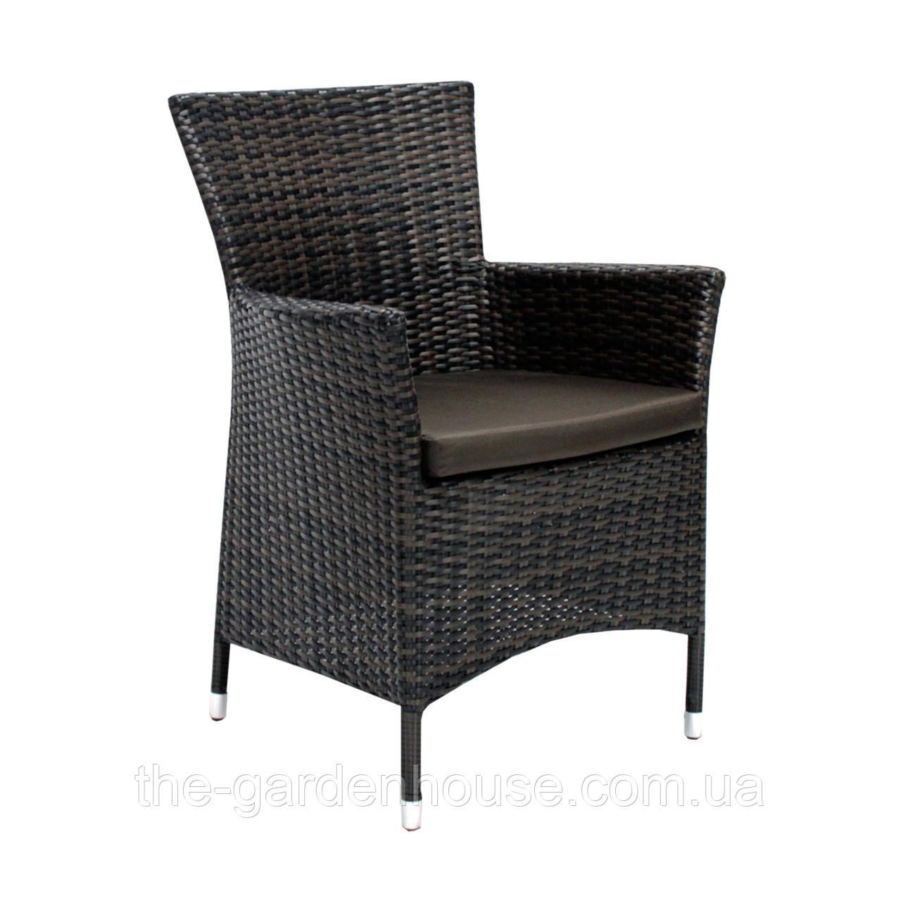 Садовое кресло Wicker-1 из искусственного ротанга темно-коричневое
