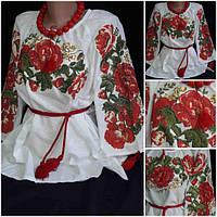 """Блузка с вышивкой """"Соломия"""", домотканка, 3/4 рукав"""
