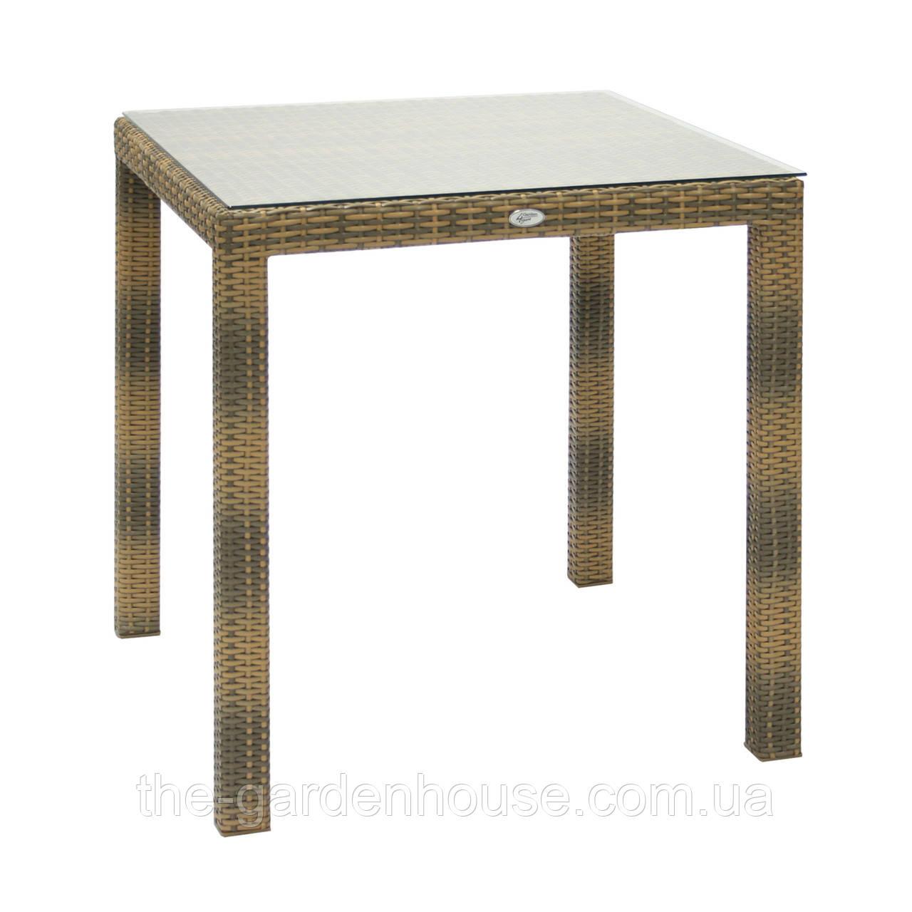 Обеденный стол Wicker из искусственного ротанга 73х73 см капучино
