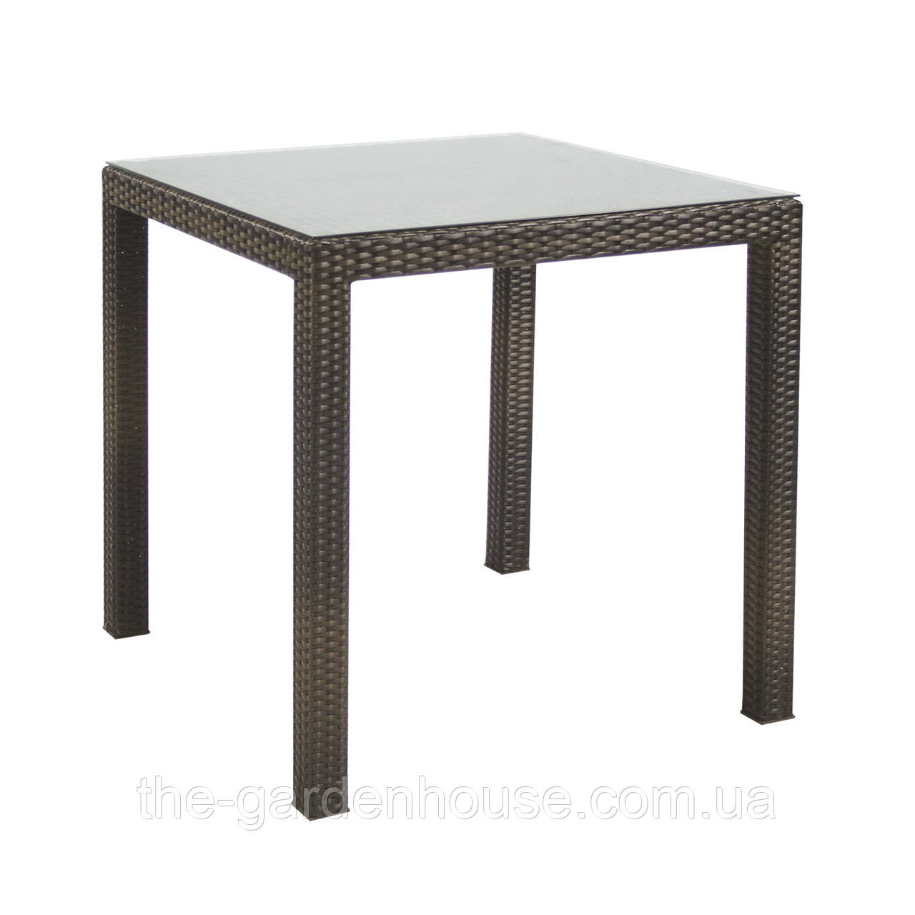 Обеденный стол Wicker из искусственного ротанга 73х73 см темно-коричневый