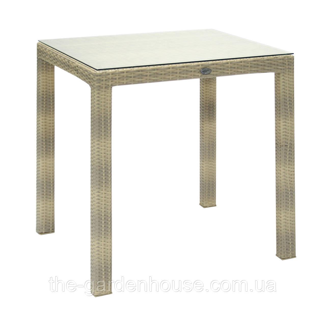 Обідній стіл Wicker з штучного ротанга 73х73 см світло-бежевий