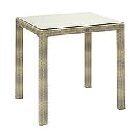 Обеденный стол Wicker из искусственного ротанга 73х73 см светло-бежевый