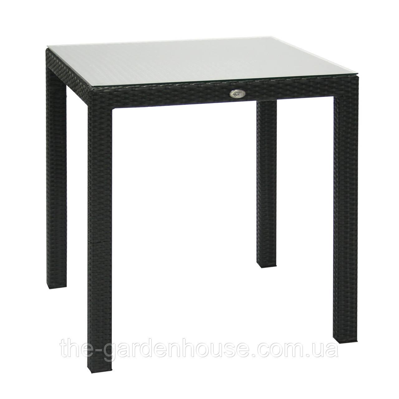 Обеденный стол Wicker из искусственного ротанга 73х73 см черный