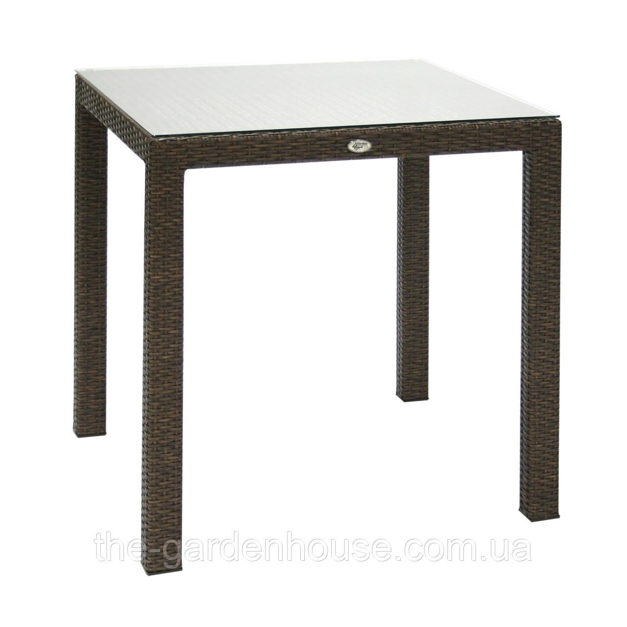 Обеденный стол Wicker из искусственного ротанга 73х73 см коричневый