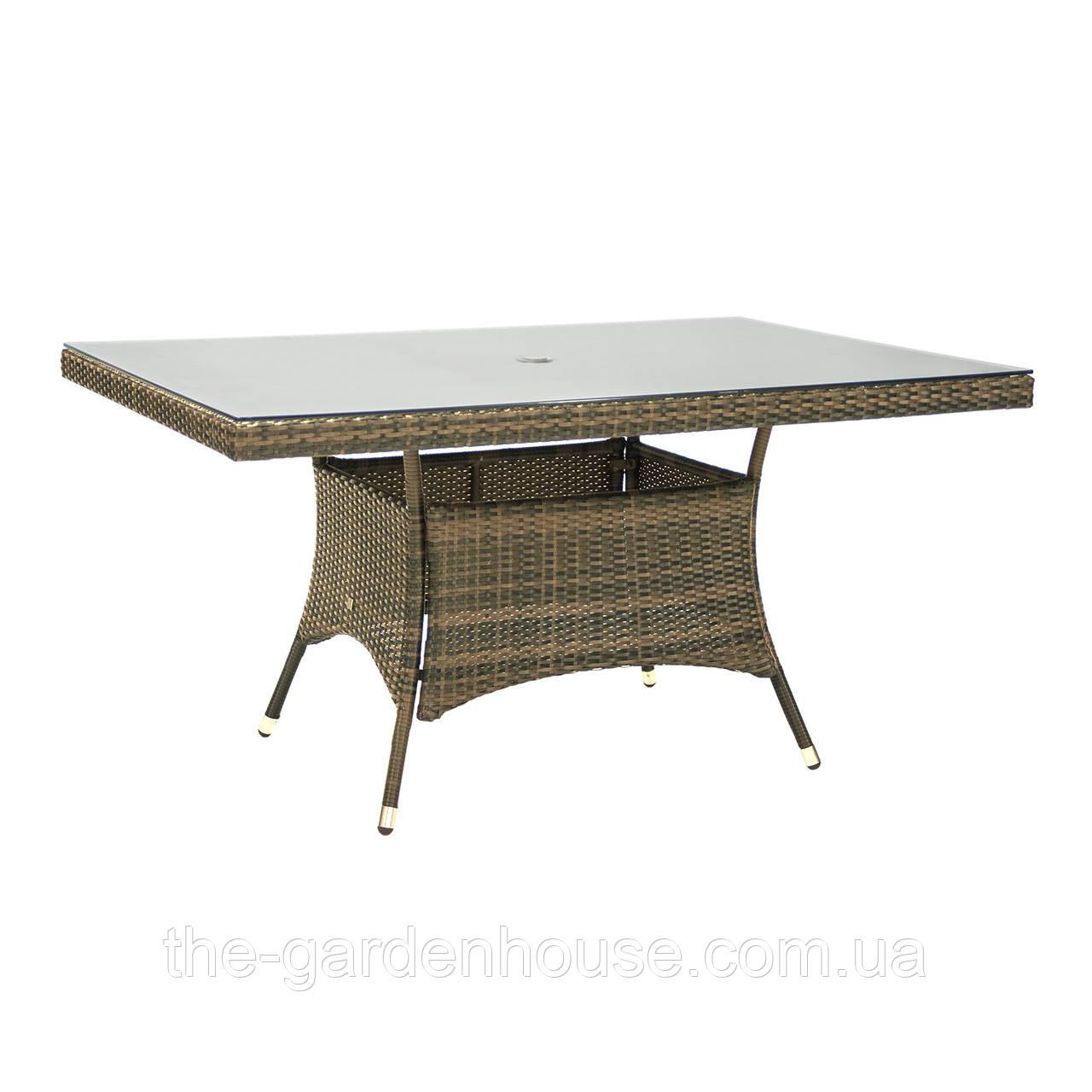 Обеденный стол Wicker из искусственного ротанга со стеклом 150x100 см капучино
