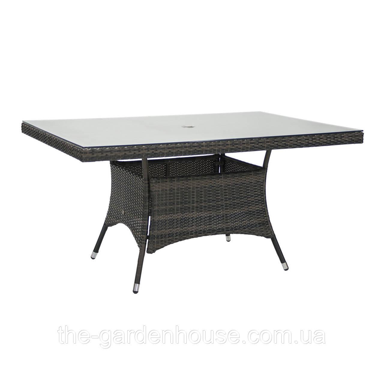 Обеденный стол Wicker из искусственного ротанга со стеклом 150x100 см темно-коричневый