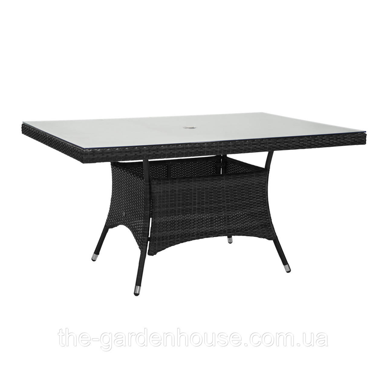 Обеденный стол Wicker из искусственного ротанга со стеклом 150x100 см черный