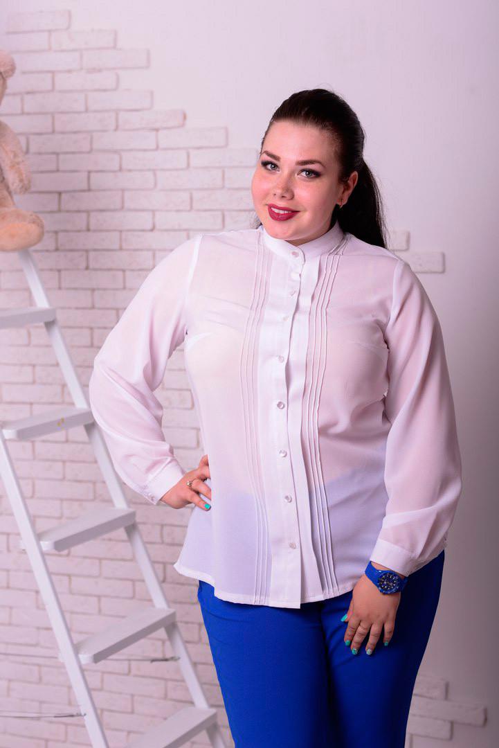 47f8d354e63c Блузка для полных женщин Милан белая (48-74), цена 670 грн., купить ...