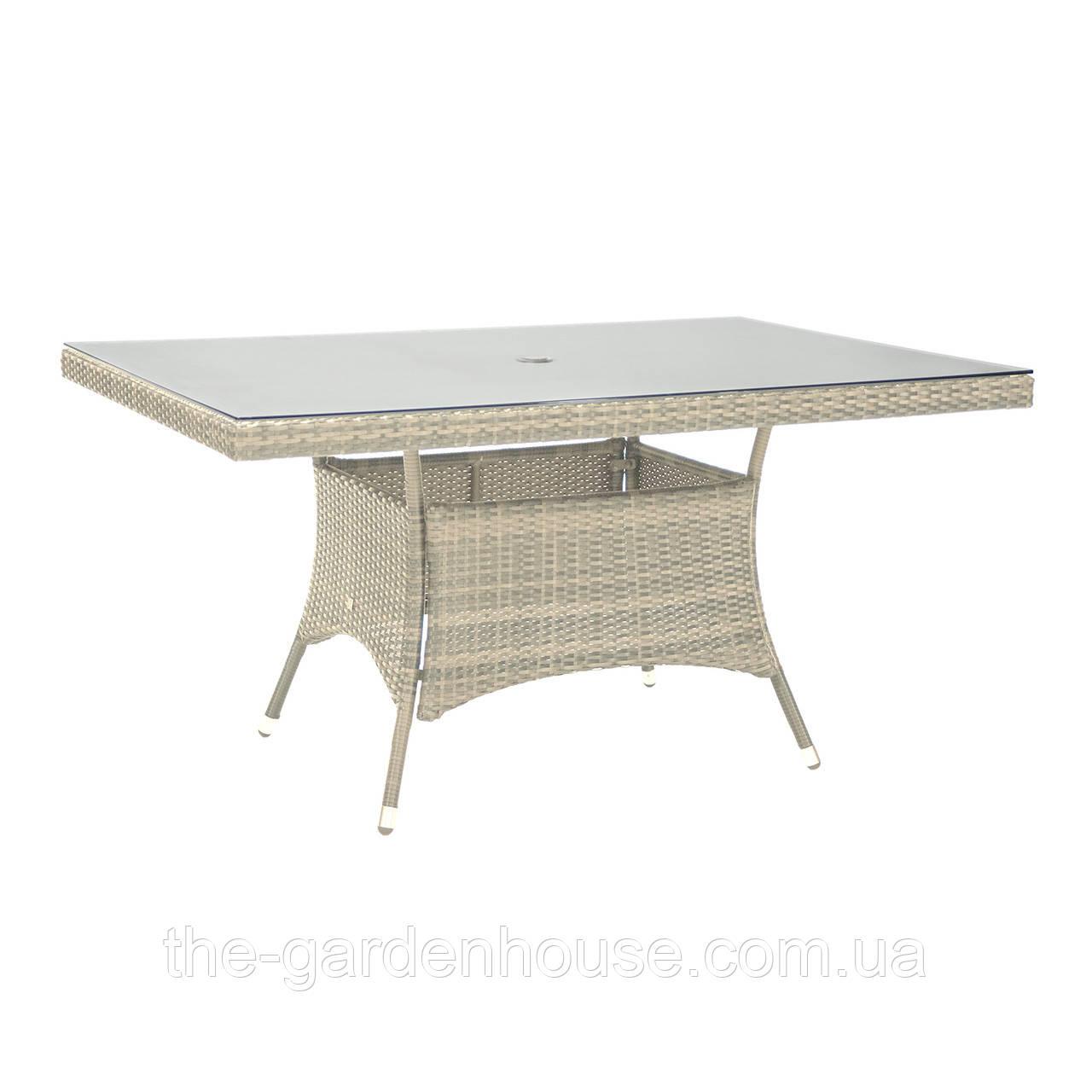 Обеденный стол Wicker из искусственного ротанга со стеклом 150x100 см светло-бежевый