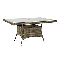 Обідній стіл Wicker з штучного ротанга зі склом 150x100 см капучіно