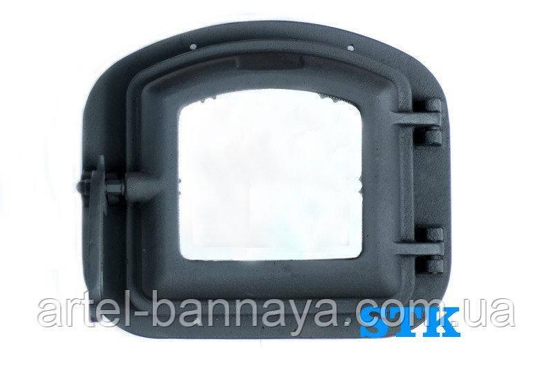 Дверца для печи чугунная со стеклом жаропрочным  340х300мм