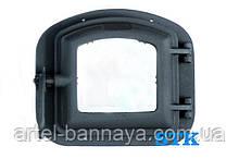 Дверцята для печі чавунна з вогнетривким склом/жароміцним STK 340х300мм