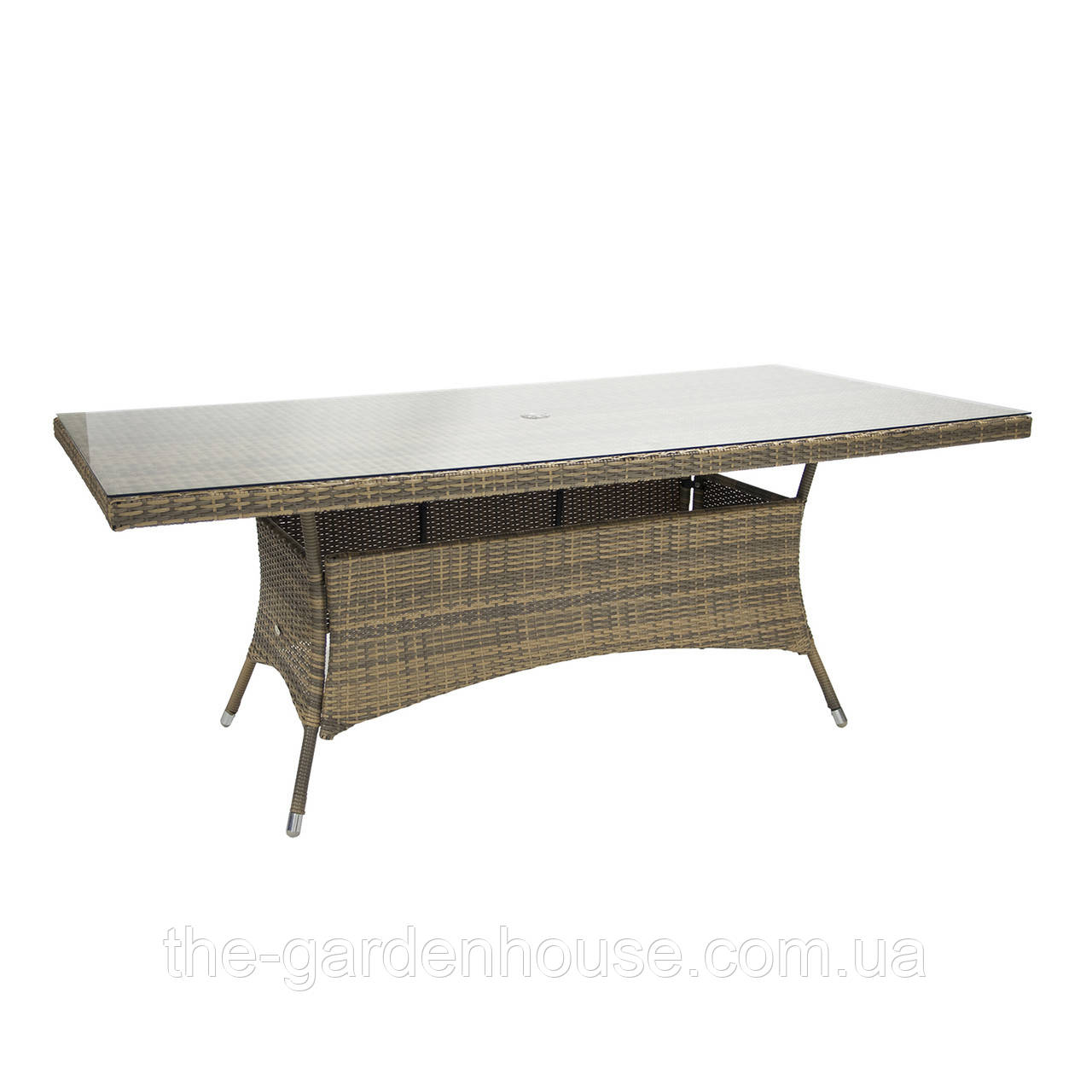 Обеденный стол Wicker из искусственного ротанга со стеклом 200х100 см капучино