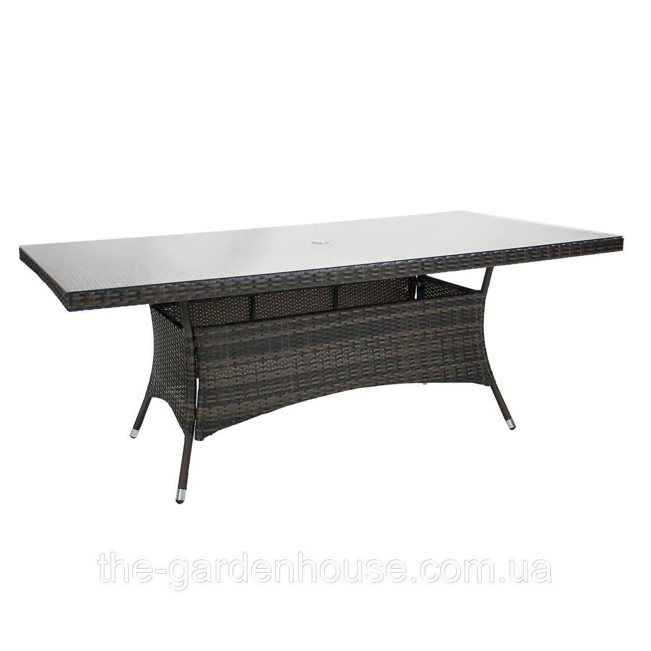 Обеденный стол Wicker из искусственного ротанга со стеклом 200х100 см темно-коричневый