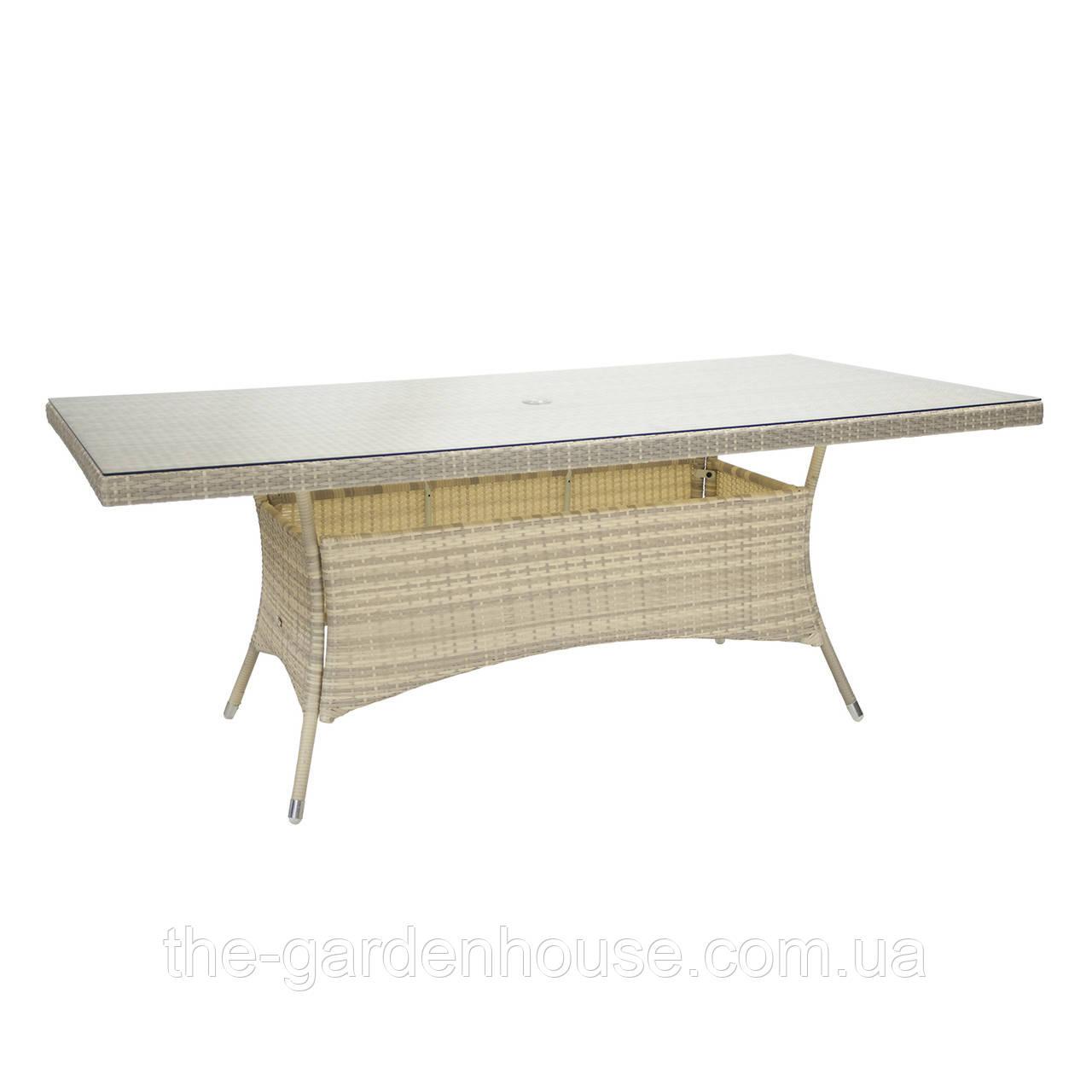 Обеденный стол Wicker из искусственного ротанга со стеклом 200х100 см светло-бежевый