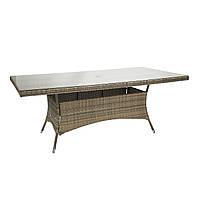 Обеденный стол Wicker из искусственного ротанга со стеклом 200x100 см капучино