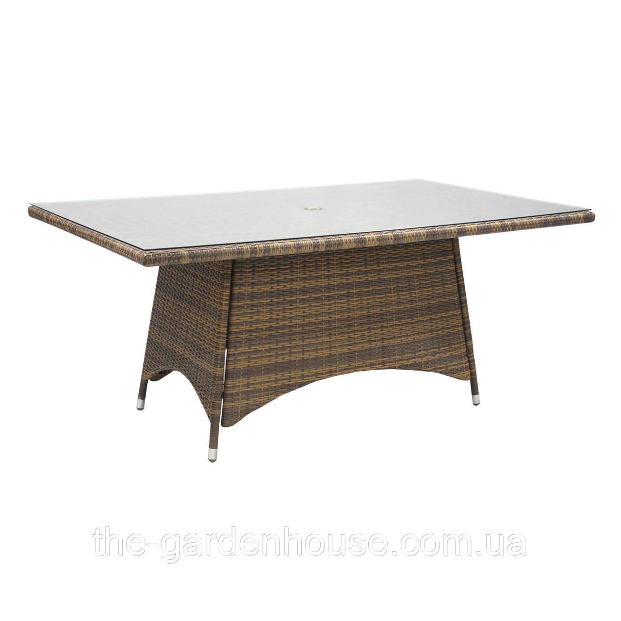 Обеденный стол из искусственного ротанга Викер 170х100 см капучино