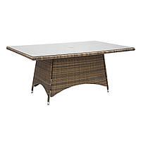Обідній стіл з штучного ротанга Вікер 170х100 см капучіно