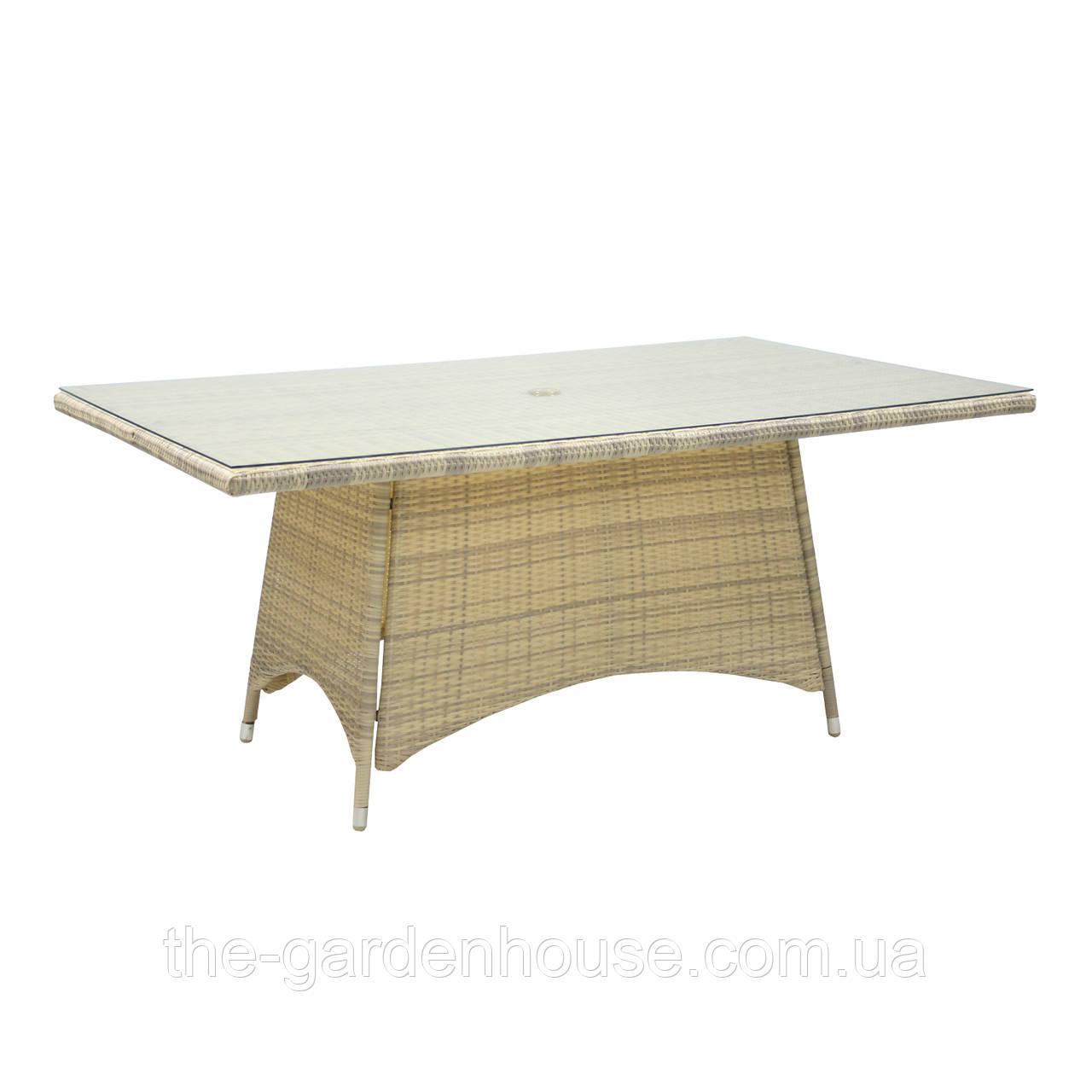 Обеденный стол из искусственного ротанга Викер 170х100 см светло-бежевый