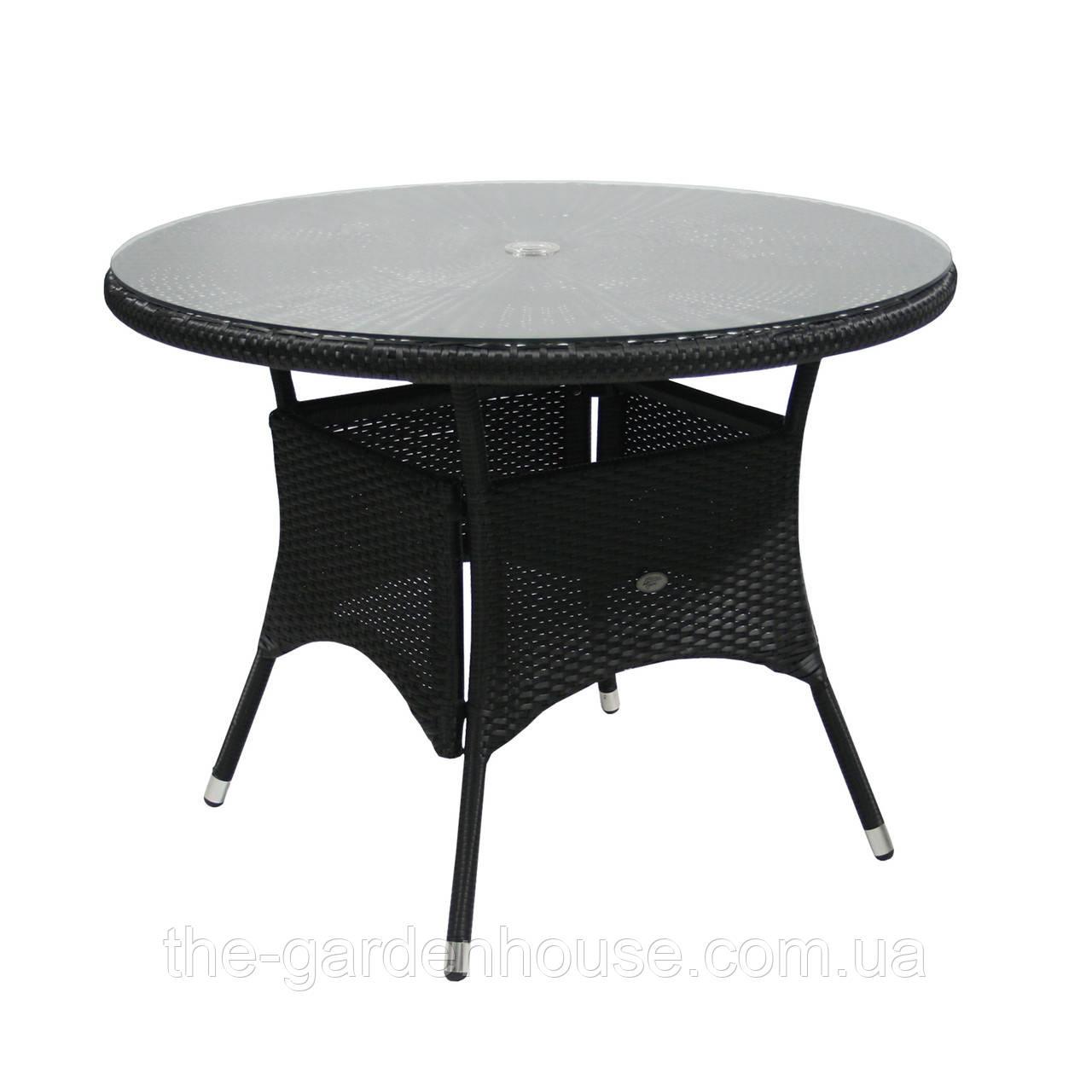 Обеденный стол Wicker из искусственного ротанга Ø 100 см черный