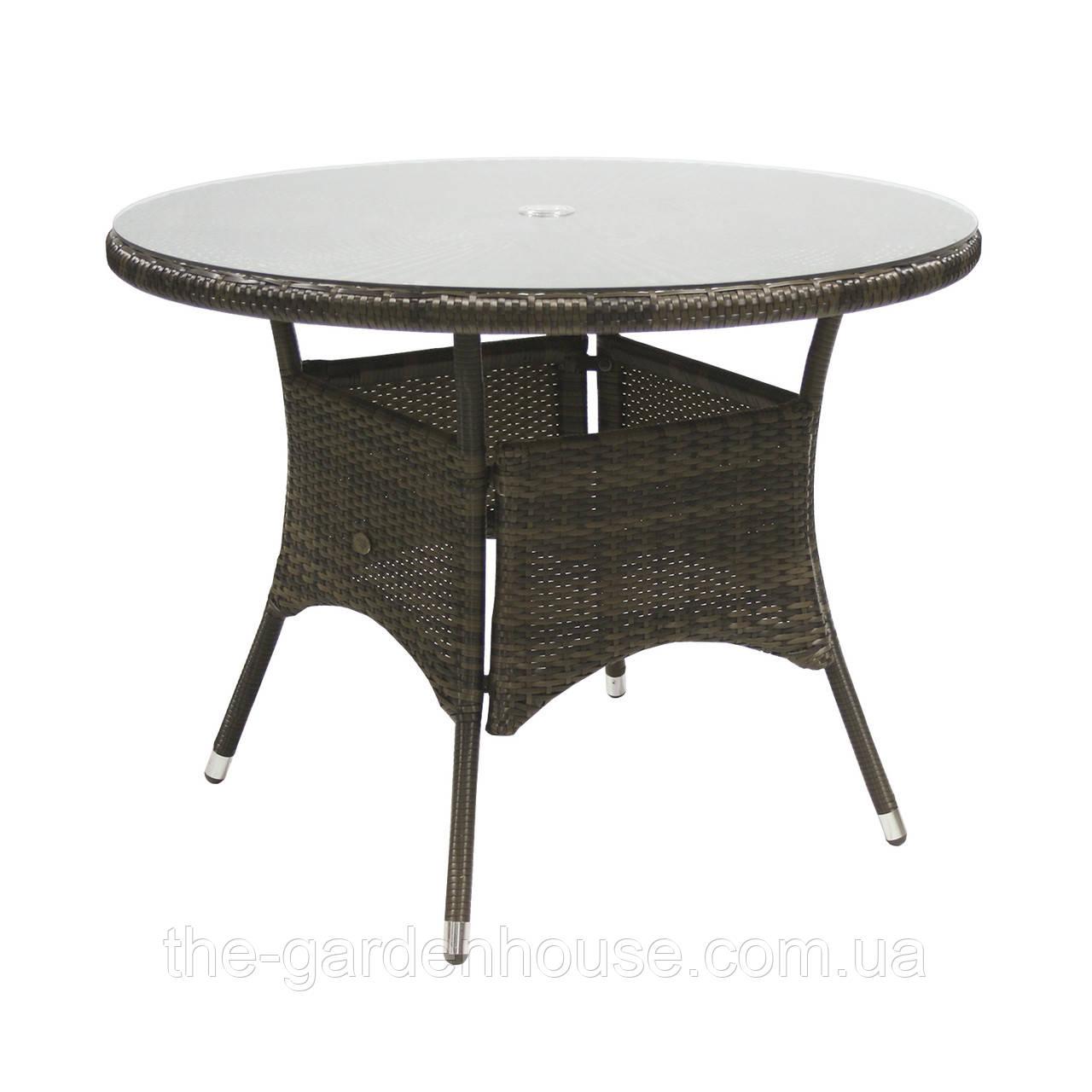 Обеденный стол Wicker из искусственного ротанга Ø 100 см темно-коричневый