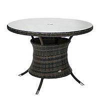 Садовий стіл Вікер з штучного ротанга Ø 100 см темно-коричневий