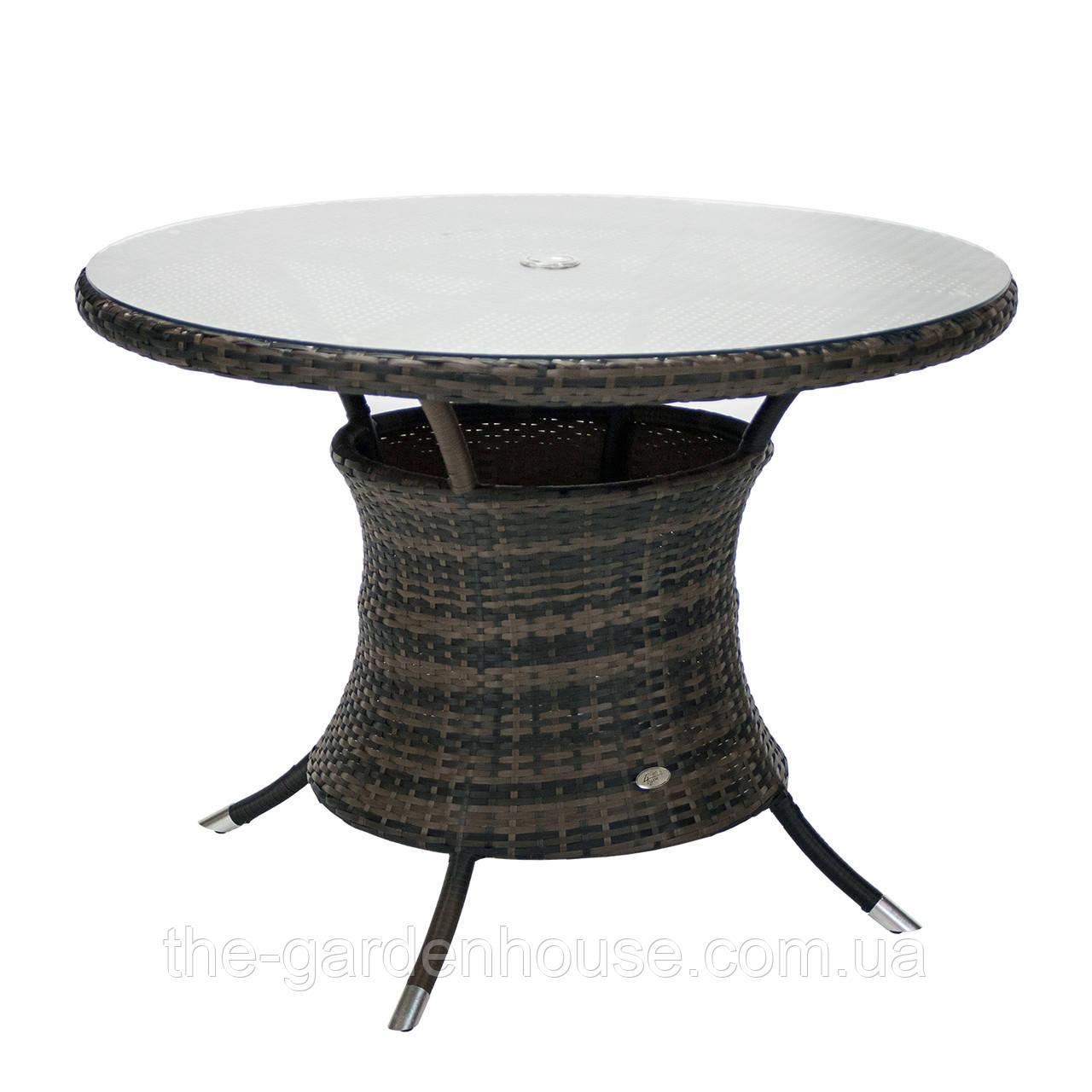 Садовый стол Викер из искусственного ротанга Ø 100 см темно-коричневый