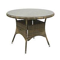 Обеденный стол Wicker из искусственного ротанга Ø 100 см капучино