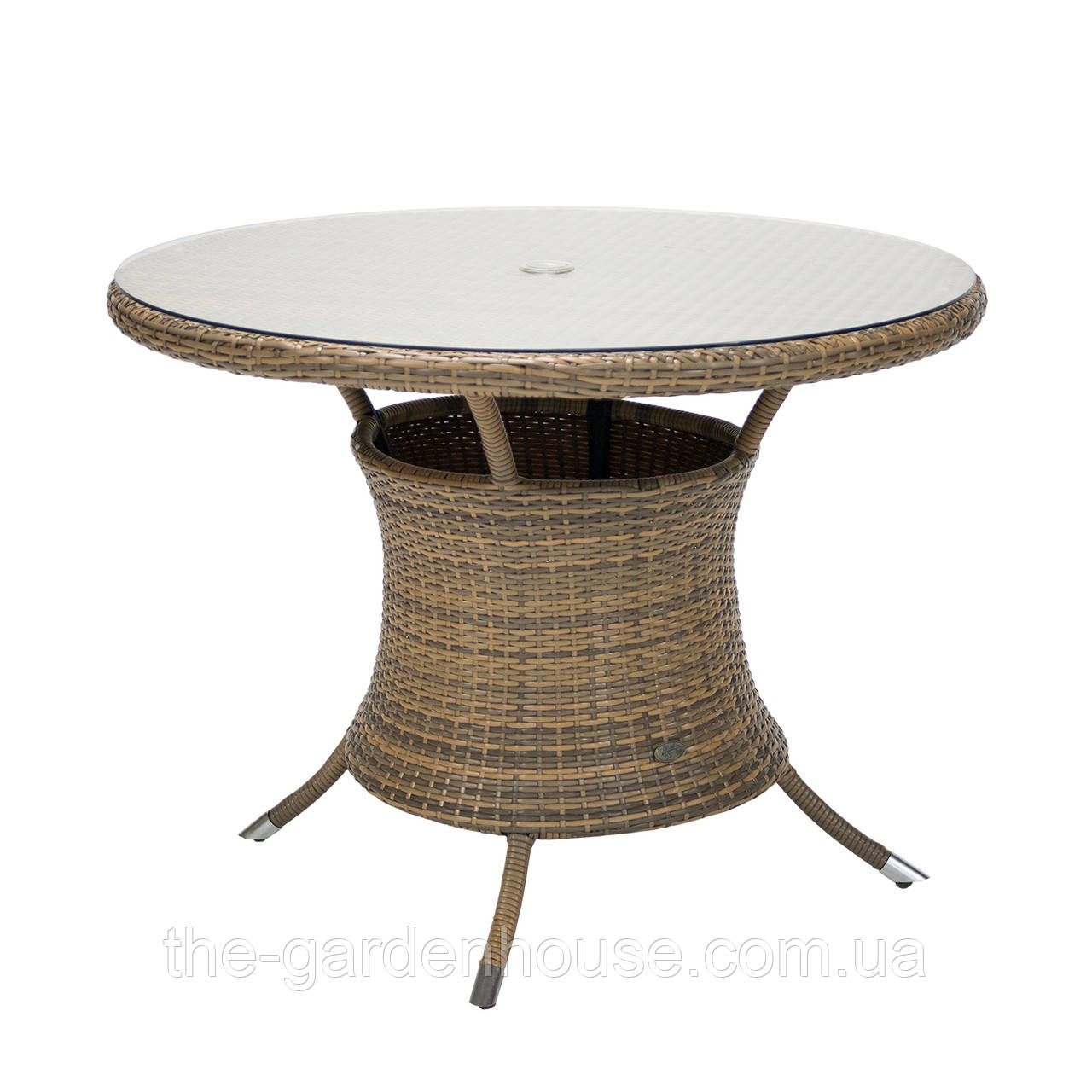 Садовый стол Викер из искусственного ротанга Ø 100 см капучино