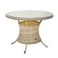 Садовый стол Викер из искусственного ротанга Ø 100 см светло-бежевый