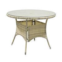 Обеденный стол Wicker из искусственного ротанга Ø 100 см светло-бежевый