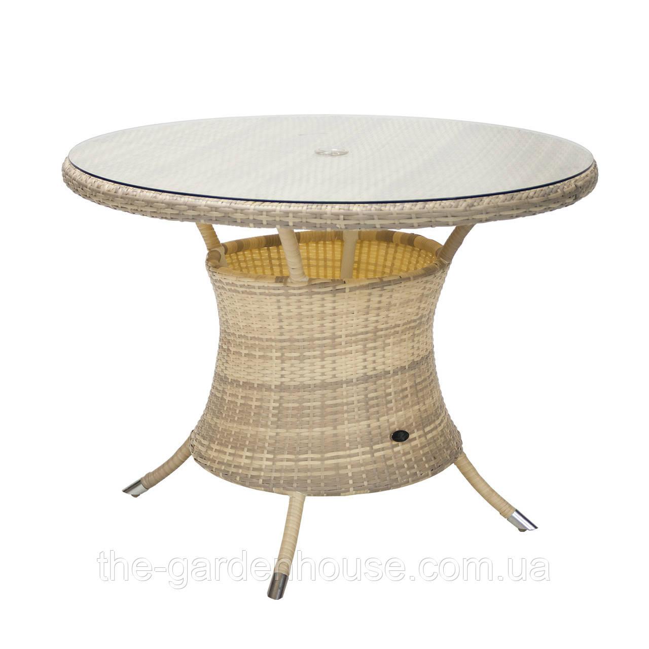Обеденный стол Викер из искусственного ротанга Ø 100 см светло-бежевый
