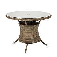 Обеденный стол Викер из искусственного ротанга Ø 100 см капучино