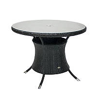Обеденный стол Викер из искусственного ротанга Ø 100 см черный