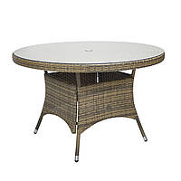 Обеденный стол Wicker из техноротанга Ø 120 см светло-бежевый