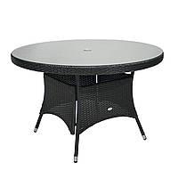 Обеденный стол Wicker из техноротанга Ø 120 см черный