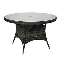 Обеденный стол Wicker из техноротанга Ø 120 см темно-коричневый