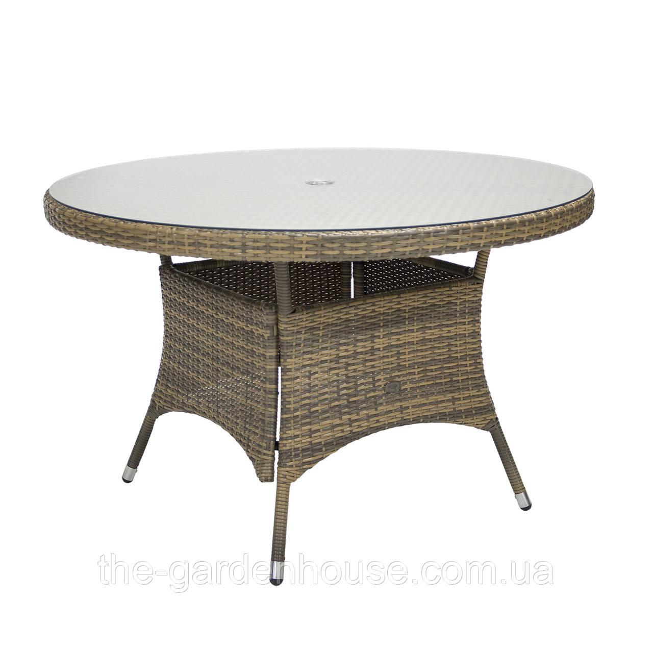 Обеденный стол Wicker из техноротанга Ø 120 см капучино