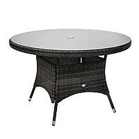 Обеденный стол Wicker из техноротанга Ø 120 см темно-коричневый, фото 1
