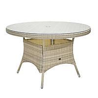 Обідній стіл Wicker з техноротангу Ø 120 см світло-бежевий