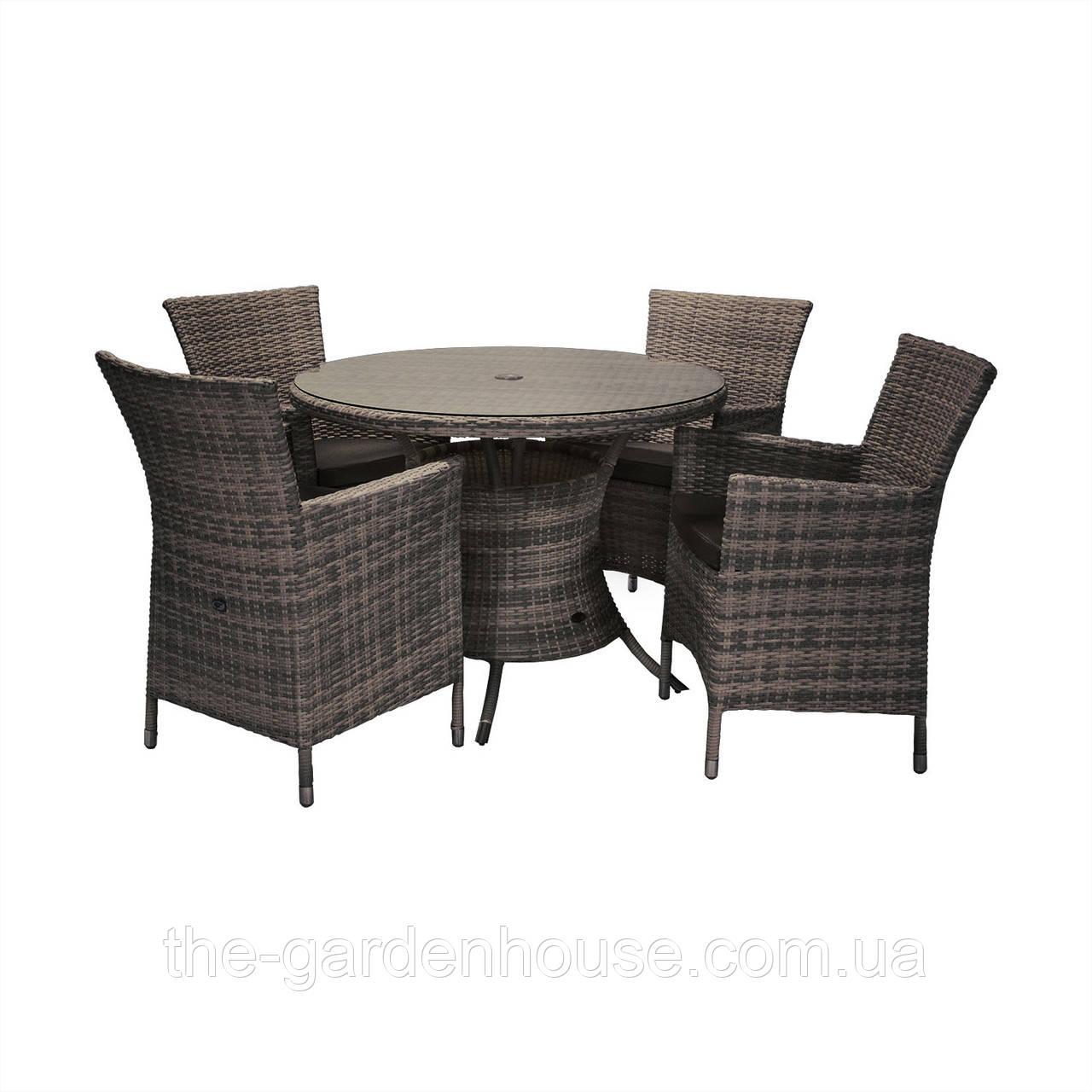 Обеденный комплект Викер из искусственного ротанга: стол 100 см и 4 кресла темно-коричневый