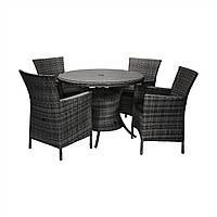 Обеденный комплект Викер из искусственного ротанга: стол 100 см и 4 кресла черный, фото 1