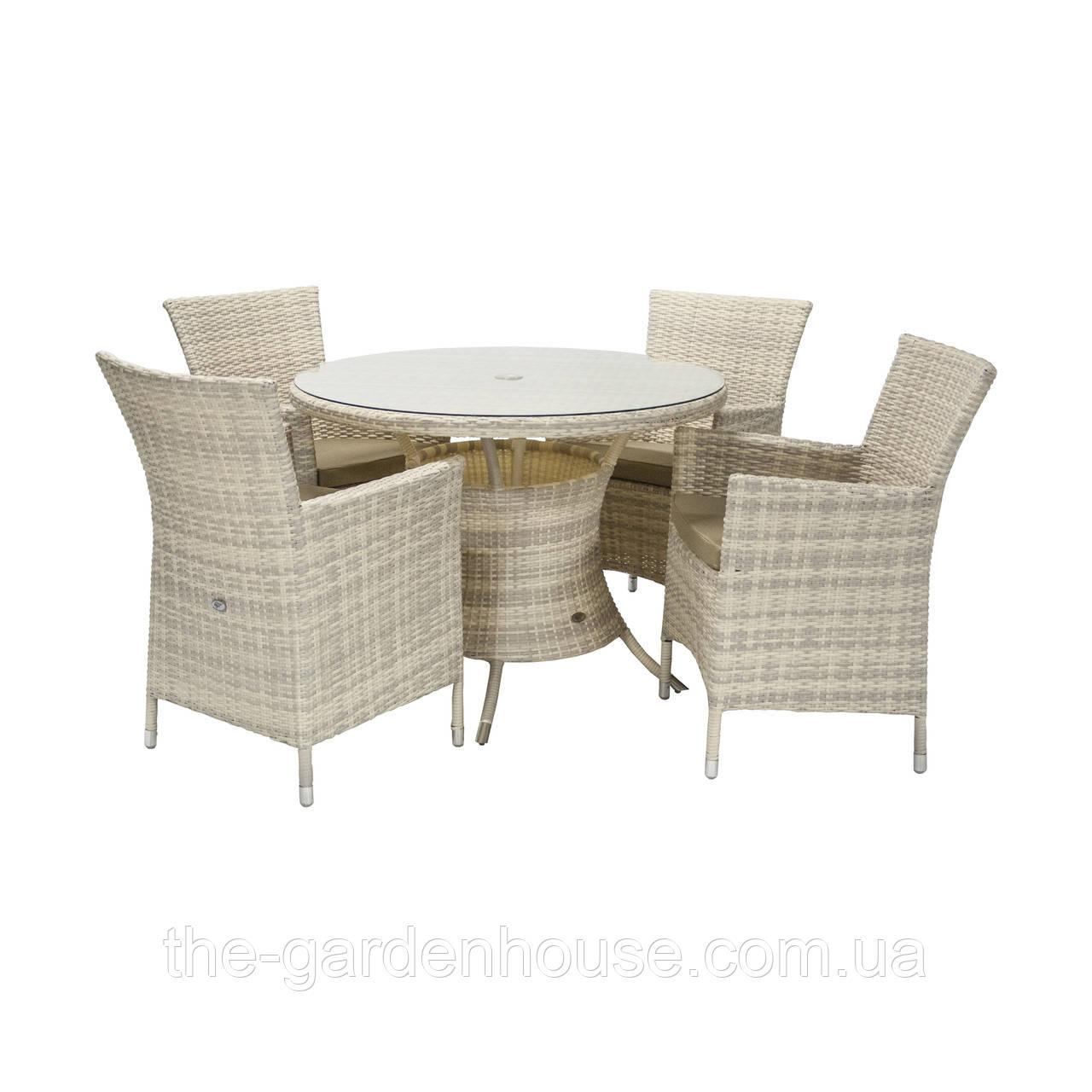 Обеденный комплект Викер из искусственного ротанга: стол 100 см и 4 кресла светло-бежевый, фото 1