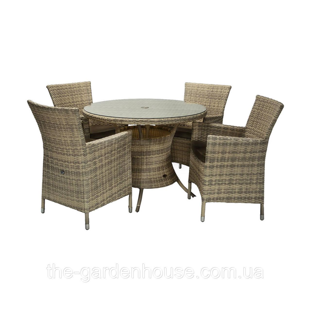 Обеденный комплект Викер из искусственного ротанга: стол 100 см и 4 кресла капучино