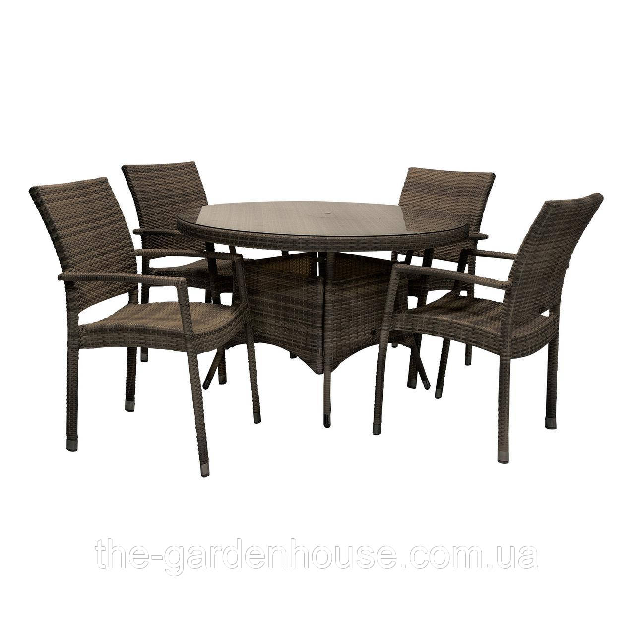 Обеденный комплект из искусственного ротанга Wicker: стол 120 см и 4 стула темно-коричневый