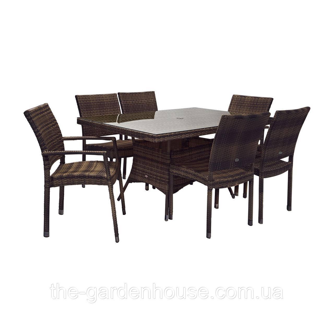 Столовый комплект садовой мебели из искусственного ротанга Викер: стол 150 см и 6 стульев темно-коричневый