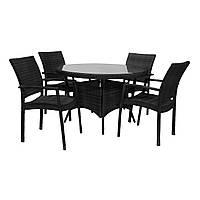 Обеденный комплект из искусственного ротанга Wicker: стол 120 см и 4 стула черный, фото 1